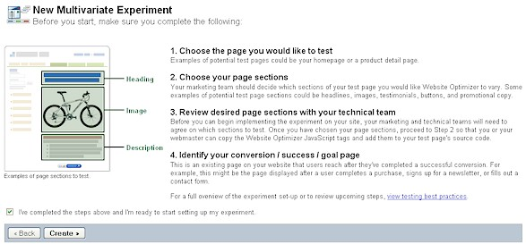 Figure 2 - Website Optimizer Multivariate Experiment Set-Up