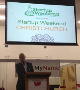 Mayor Bob Parker opening Christchurch Startup Weekend