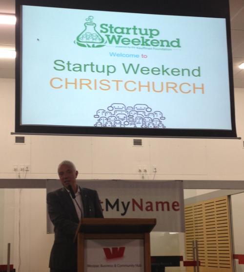 Mayor Bob Parker opening Christchurch Startup Weekend