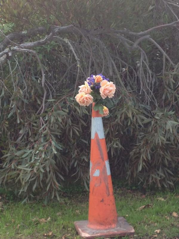 Flowers and road cones