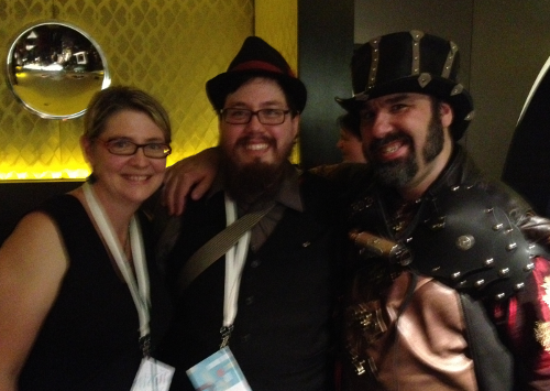 Me with @jbowtie and @textfiles at the Webstock after party
